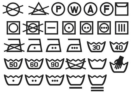 Set van wassymbolen (Wasvoorschrift symbolen, bleken en Strijkservice instructie, stomen icoon) Vector Illustratie