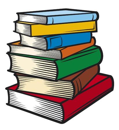 estudiantes de colegio: Pila de libros (libros apilados)