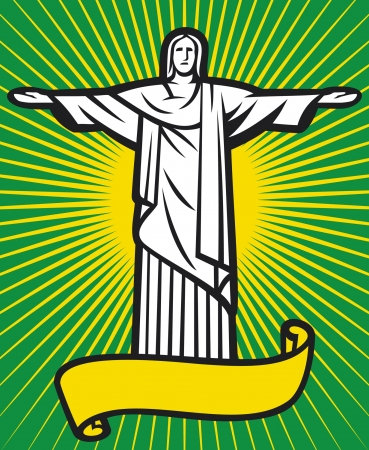 Brazil design - Christ the Redeemer statue (Stylized illustration of Jesus Christ, Rio de Janeiro)