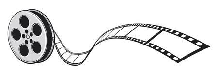 Proyector de cine y tira de película Ilustración de vector