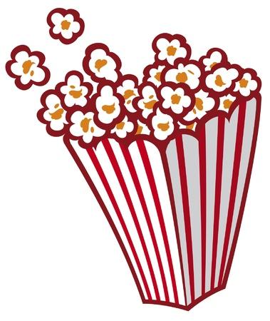 popcorn: Popcorn in una vasca a strisce Vettoriali