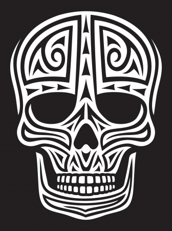 tete de mort: cr�ne cr�ne ornement dans le style de tatouage, cr�ne tatouage, tribal skull Illustration