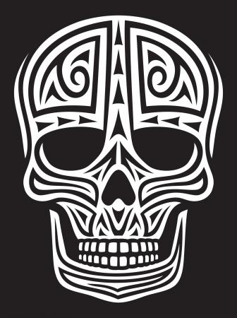 dreadful: skull ornament  skull in tattoo style, tattoo skull, tribal skull  Illustration