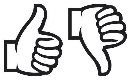approval button: thumb up and down gesture  like and unlike