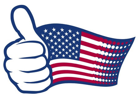 thumbs up icon: USA flag  United States of America   Hand showing thumbs up