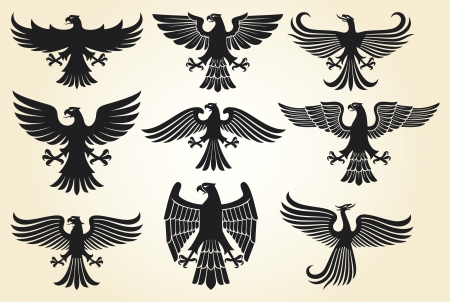 eagle: heraldic eagle set  eagle silhouettes, heraldic design elements, eagle collection  Illustration