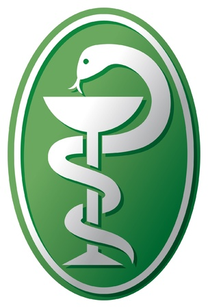 medical emblem: medical symbol  emblem for drugstore or medicine, green medical sign, snake and a bowl, bowl of hygieia, symbol of pharmacy, pharmacy snake symbol