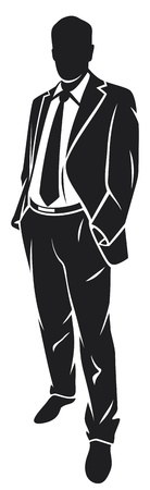 silhouette of man: illustration of a businessman (standing businessman) Illustration