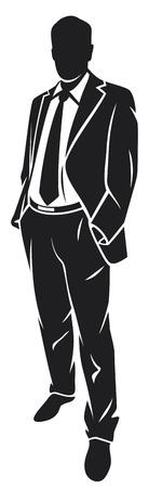 silueta hombre: Ilustración de un hombre de negocios (hombre de negocios de pie) Vectores