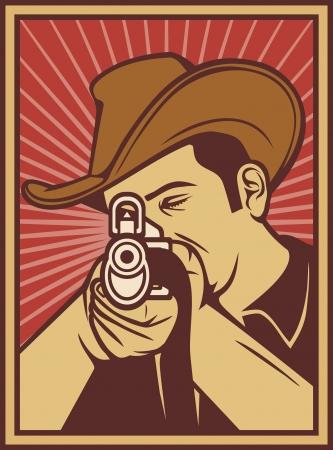 cowboy shooting a rifle (cowboy pointing his rifle, cowboy aiming his rifle) Stock Vector - 14836363