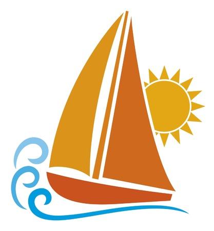 water theme: stylized yacht (sailboat symbol, sailboat icon) Illustration