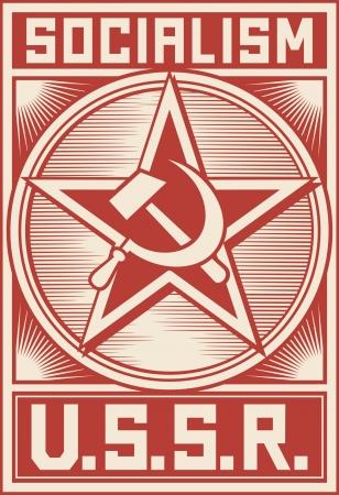 faucille et marteau: affiche URSS (affiche soviétique, affiche le socialisme, soviétique étoile) Illustration