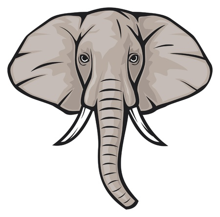 mammoth: elephant head Illustration