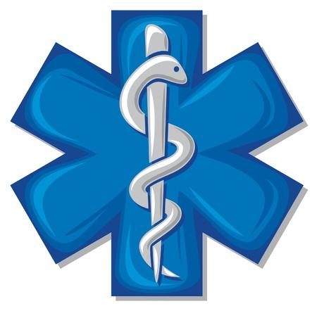 скорая помощь: медицинские кадуцей символ змеи с палкой (эмблема аптеке или медицины, синий медицинских знак, символ аптеки, аптека символ змеи) Иллюстрация