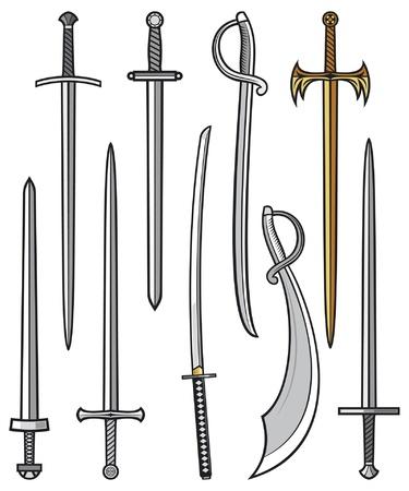 espadas medievales: colección de espadas y sables (juego de espadas y sables) Vectores