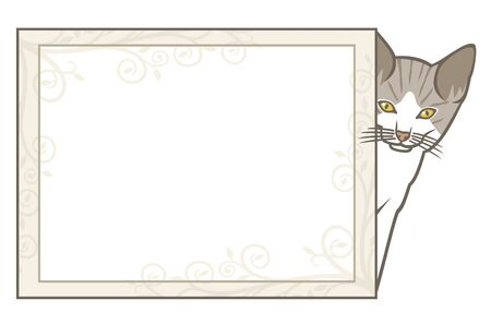 little kitten with frame (vector frame with cat, cat with frame, animal frame Stock Vector - 14836279