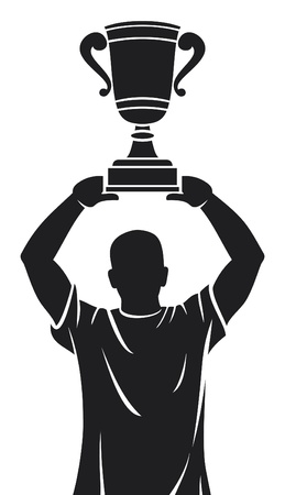 Player lifting trophy (Champion) Vector