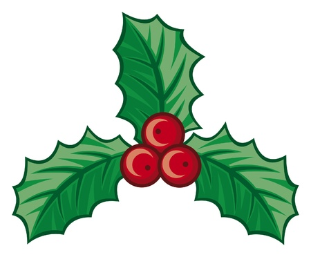three leaves: christmas holly berry symbol (christmas decoration - isolated holly with berries, holly berry icon, symbolic christmas holly berry)