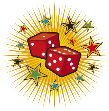 tossing: red dices design (gambling illustration, gambling design, casino design) Illustration