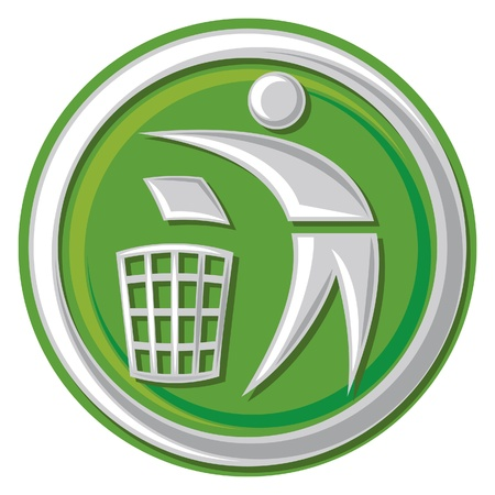 trash basket: Recycling Sign (Recycling Sign Label, Recycling Sign Button Icon)