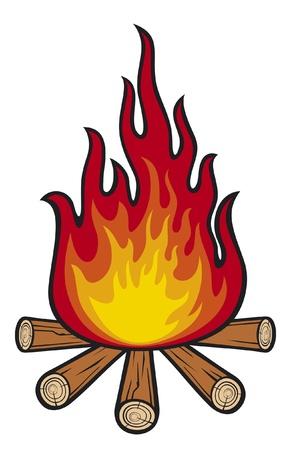 incendio bosco: fuoco di bivacco Vettoriali