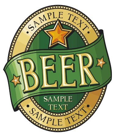 green beer: beer label design Illustration