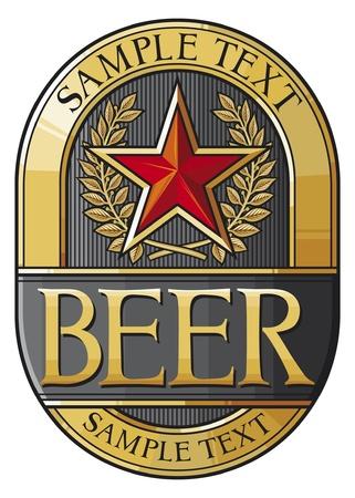 black beer: beer label design Illustration