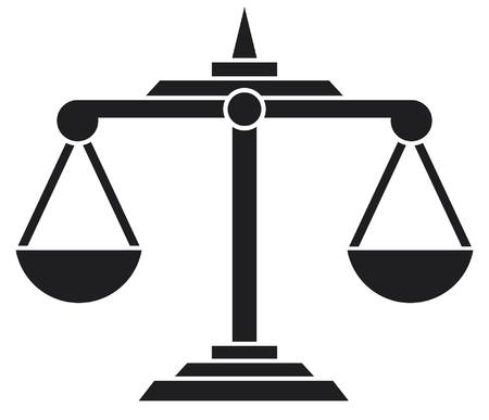 balanza en equilibrio: balanza de la justicia símbolo Vectores