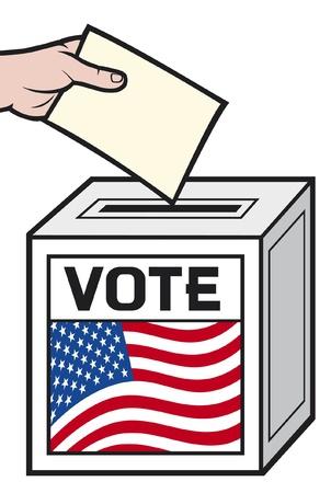 voting ballot: ilustraci�n de una urna con la bandera de los Estados Unidos de Am�rica. (Mano poniendo una papeleta de votaci�n en una ranura de la caja).