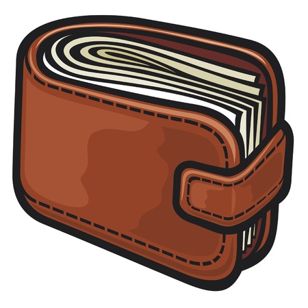 leather wallet with the money Stock Vector - 14836367