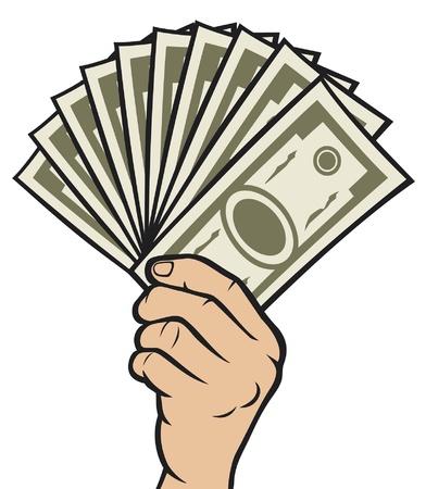 pagando: El dinero en la mano (Hand con dinero, billetes mano que sostiene) Vectores