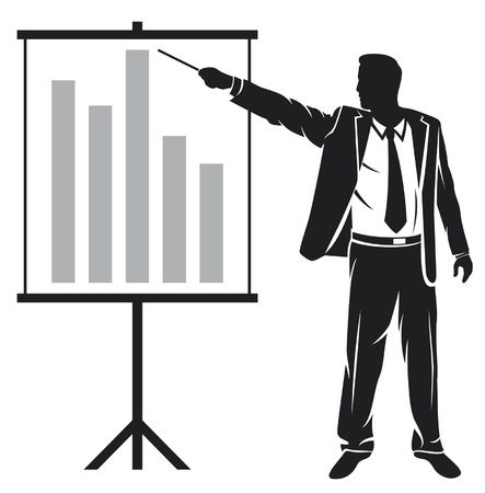 businessman making a presentation (businessman showing business presentation) Vector