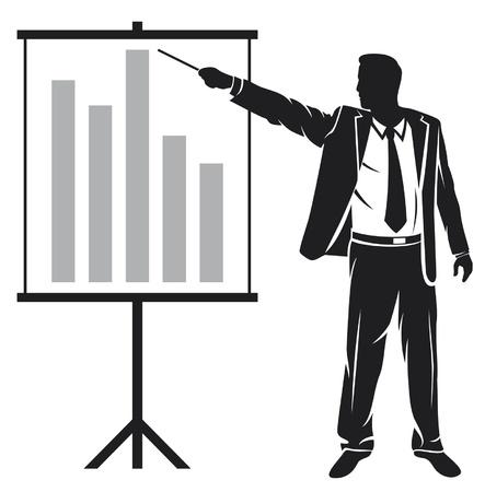 businessman making a presentation (businessman showing business presentation) Vector