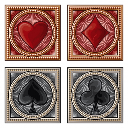 shiny suit: decorative card symbols (card suits, playing card set symbols)