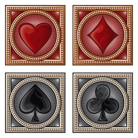 símbolos decorativos de tarjetas (card suits, jugando símbolos tarjeta de juego) Ilustración de vector