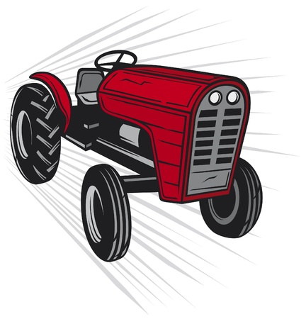 yellow tractors: red tractor Illustration