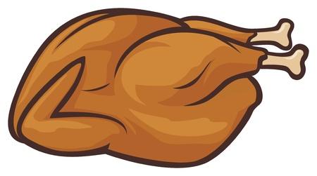 aves de corral: Pavo asado entero Vectores
