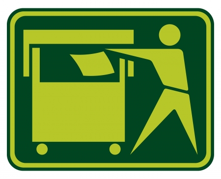 Recycling Sign  Recycling Sign Label, Recycling Sign Button Icon, man throwing trash into the container  Vector