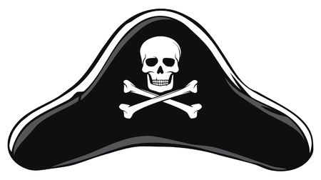 death s head: Black Pirate Hat  Pirate s Hat  Illustration