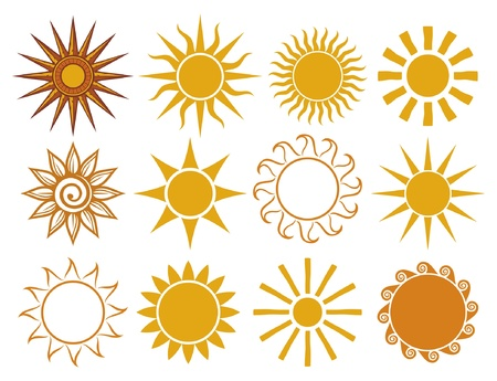 suns - elements for design  set of vector suns, suns collection  Stock Vector - 14836274