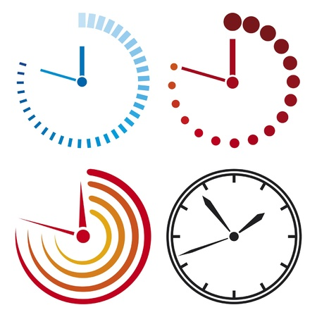 alarm clock: clock icons  clock set  Illustration
