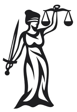 blind: justice statue, lady justice  themis, femida - a goddess of justice  Illustration