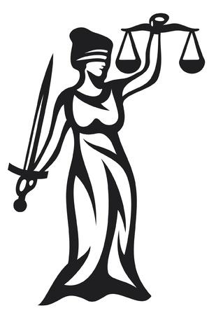 gerechtigheid: rechtvaardigheid standbeeld, Vrouwe Justitia THEMIS, Femida - een godin van rechtvaardigheid