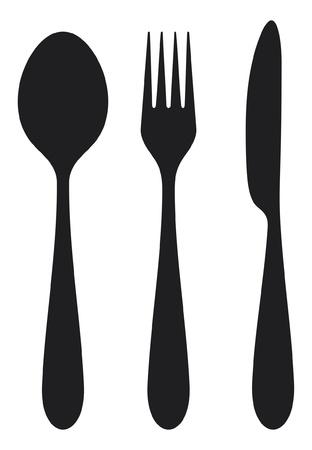 cuchillo y tenedor: cuchillo, tenedor y cuchara