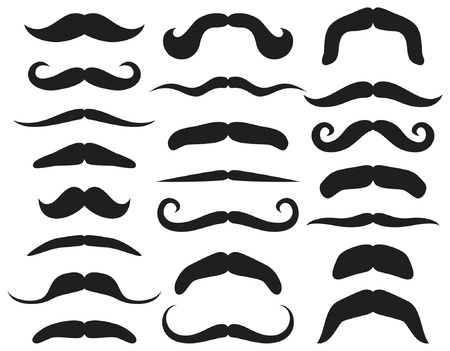Set of mustache  mustache collection Vector