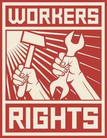 Rechte der Arbeitnehmer Plakat Rechte der Arbeitnehmer Design Vektorgrafik