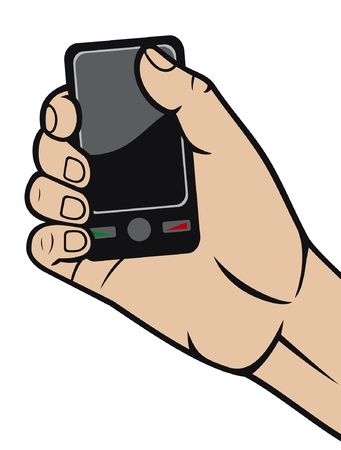 mobile phone in hand  hand holding smart phone, hand with a telephone, modern smart phone in hand  Stock Vector - 14836408