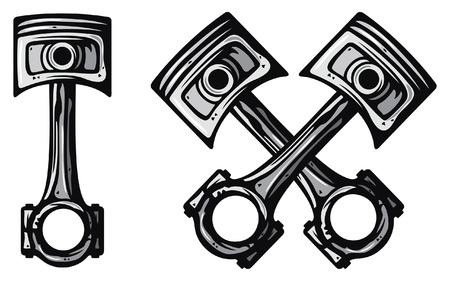 pistons: crossed engine pistons (two pistons, engine pistons, crossed pistons)