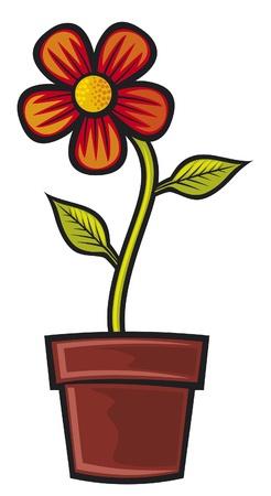 flor caricatura: Flor en maceta
