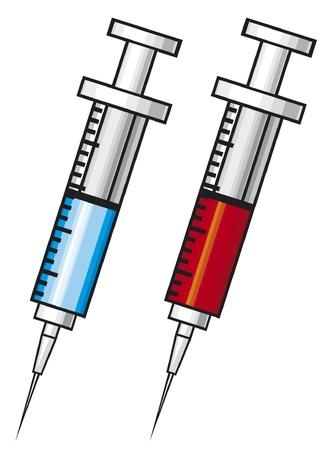 zastrzyk: strzykawka z ilustracji szczepionki